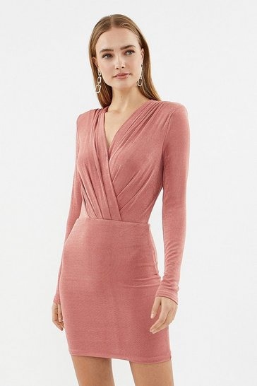 Rose Twist Front Jersey Dress