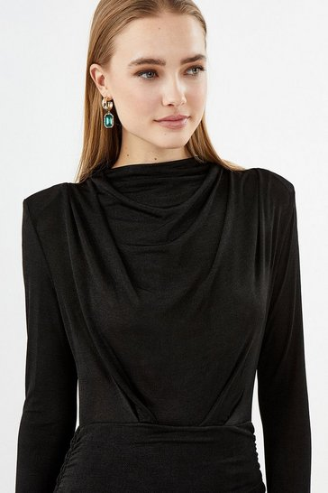 Black Long Sleeve High Neck Jersey Dress