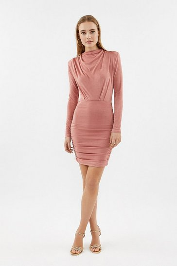 Rose Long Sleev High Neck Jersey Dress