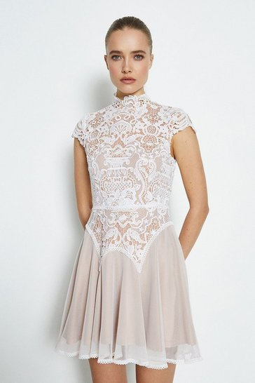 Ivory Lace Cap Sleeve Dress