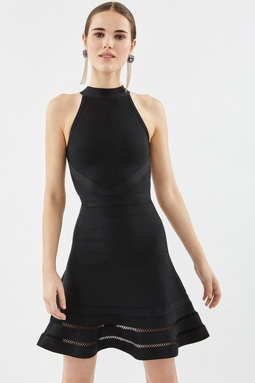 Black Halter Neck Bandage Dress
