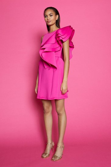 Fushia High Neck Triple Frill Dress
