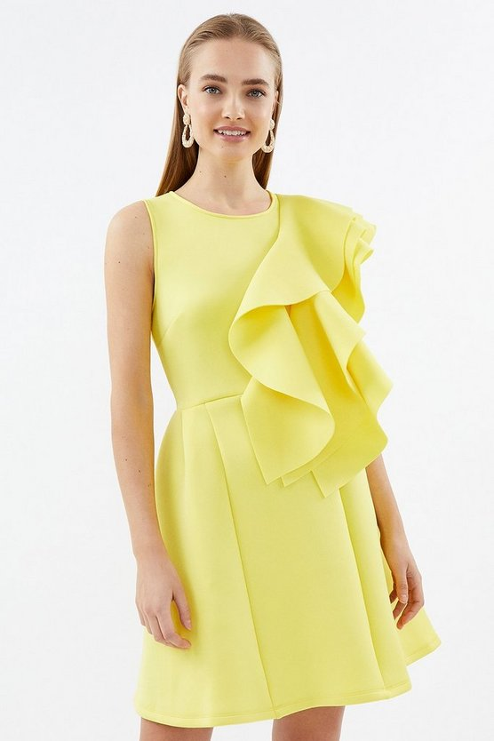 Yellow High Neck Triple Frill Dress