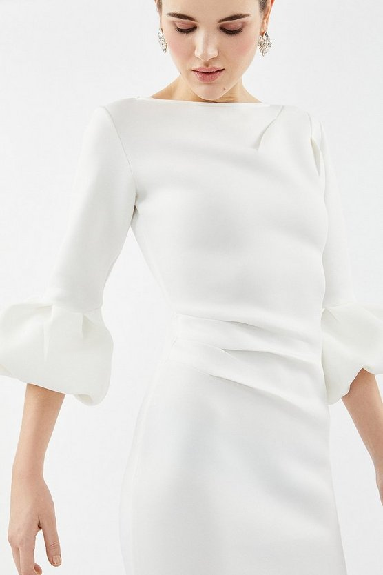 Ivory Puff Sleeve Scuba Midi Dress