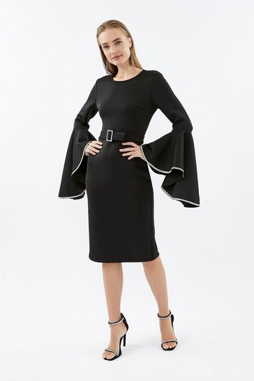 Black Diamante Flare Sleeve Dress