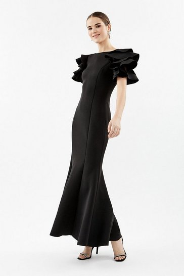 Black Scuba Fishtail Maxi Dress