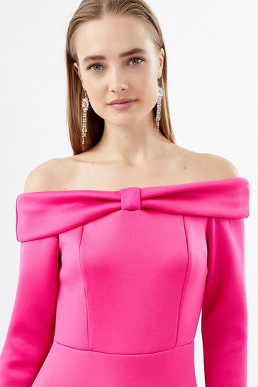 Fushia Scuba Bow Bardot Dress
