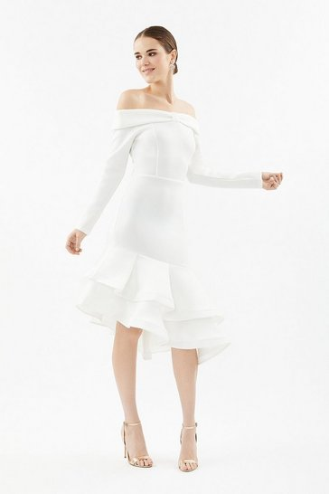 White Scuba Bow Bardot Dress