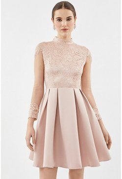 Blush Lace Bodice Fit And Flare Dress