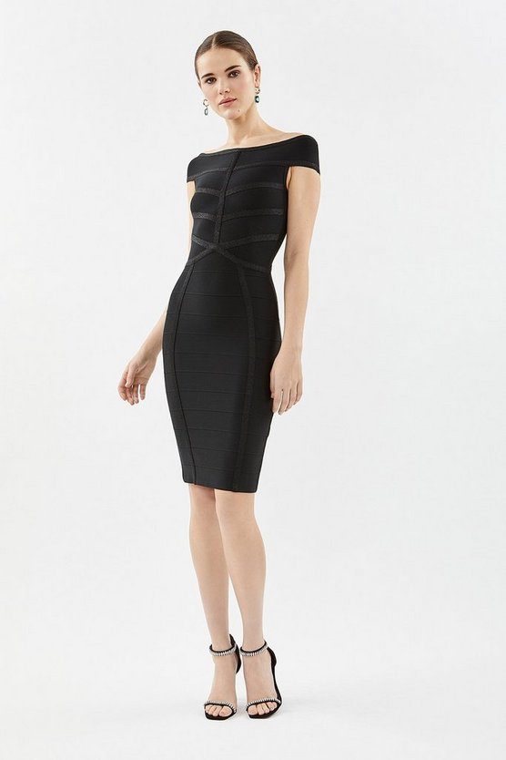 Black Knitted Bardot Dress