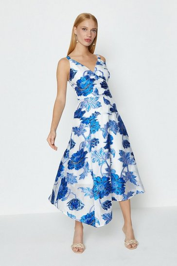 Blue Seam Detail Organza Dress