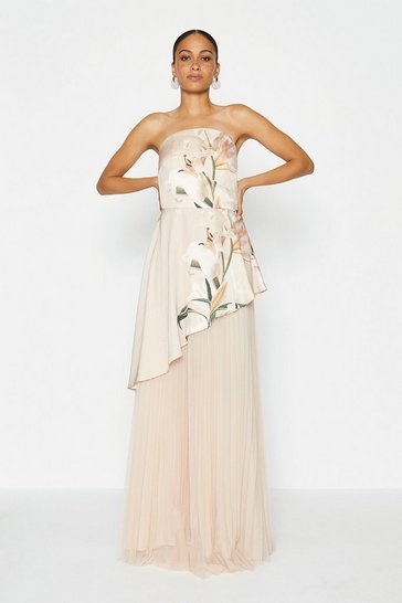 Nude Bandeau Mesh Maxi Dress