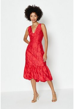 Red V Neck Peplum Hem Dress