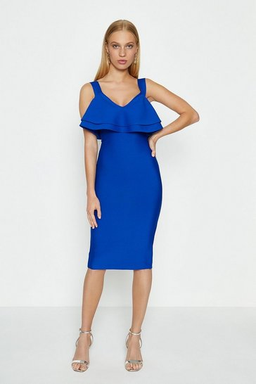 Cobalt Ruffle Bardot Knitted Dress