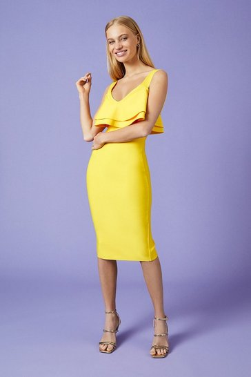 Yellow Ruffle Bardot Knitted Dress