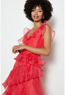 Coral Frill Tiered Organza Dress