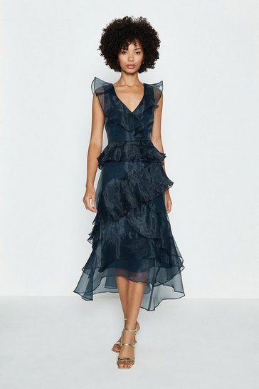 Navy Frill Tiered Organza Dress