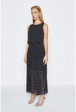 Black Spot Print Overlay Dress