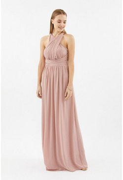 Blush Multi Way Sheer Back Maxi Dress