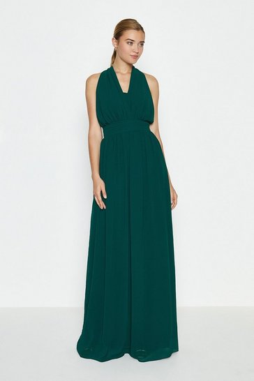 Dark green Multi Way Sheer Back Maxi Dress
