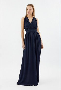 Navy Multi Way Sheer Back Maxi Dress