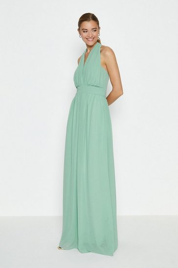 Olive Multi Way Sheer Back Maxi Dress