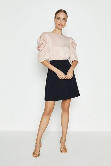 Mono Satin Tuck Sleeve Crepe Skirted Dress