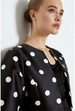 Blackwhite Puffed Sleeve Jacket