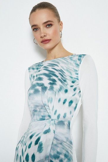 Animal Printed Satin Twist Front Jersey Top