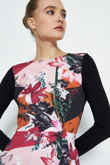 Floral Printed Satin Twist Front Jersey Top