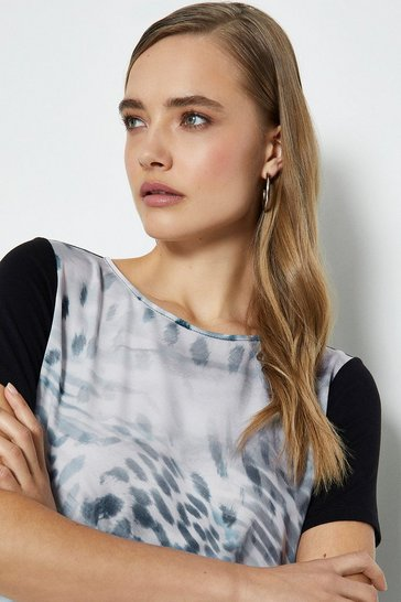 Animal Printed Satin Front Jersey Top