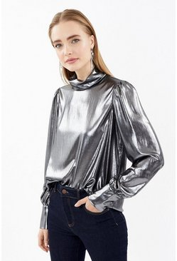 Grey Long Sleeve Metallic High Neck Blouse