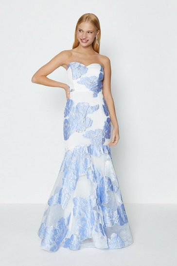 Blue Bandeau Floral Jacquard Maxi Dress