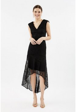 Black Curve Lace High Low Peplum Dress