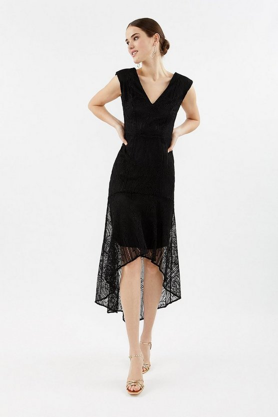 Black Lace High Low Peplum Dress