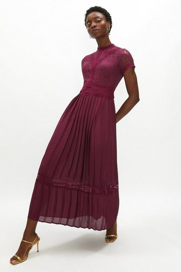 Aubergine Lace Bodice Pleat Skirt Maxi Dress