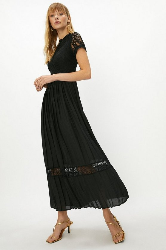 Black Lace Bodice Pleat Skirt Maxi Dress
