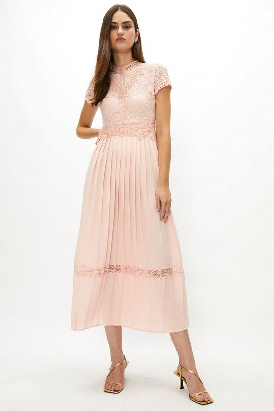Blush Lace Bodice Pleat Skirt Maxi Dress