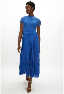 Cobalt Lace Bodice Pleat Skirt Maxi Dress