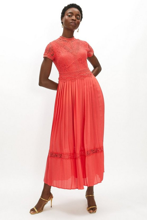 Coral Lace Bodice Pleat Skirt Maxi Dress