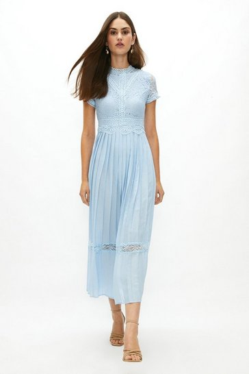 Ice blue Lace Bodice Pleat Skirt Maxi Dress