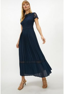 Navy Lace Bodice Pleat Skirt Maxi Dress