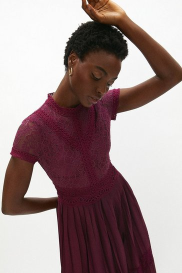 Aubergine Lace Bodice Pleat Skirt Dress