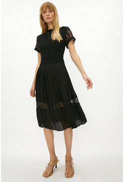 Black Lace Bodice Pleat Skirt Dress