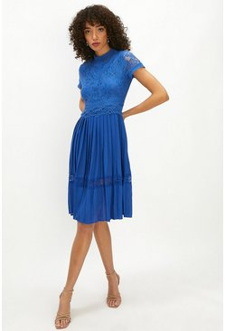 Cobalt Lace Bodice Pleat Skirt Dress