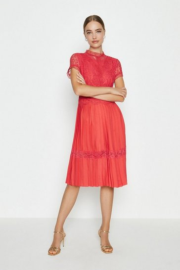 Coral Lace Bodice Pleat Skirt Dress