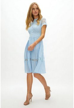 Ice blue Lace Bodice Pleat Skirt Dress