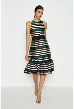 Dirndl Hem Multi Stripe Jacquard Dress