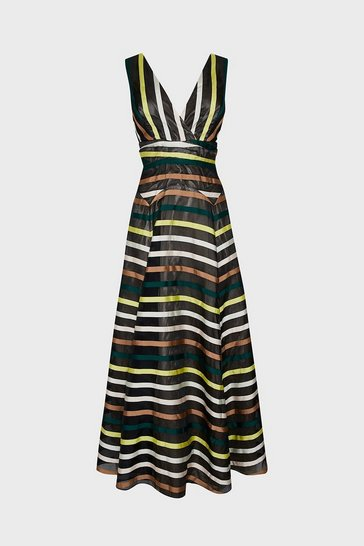 Multi Stripe Jacquard V Neck Maxi Dress