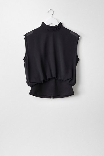 Black High Neck Georgette Top